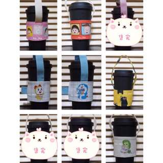 [hsu__shop]現貨 ♻️環保飲料提袋 卡通版 飲料杯套 飲料袋