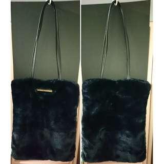 深藍色毛毛磁石手提袋 (A4 size)