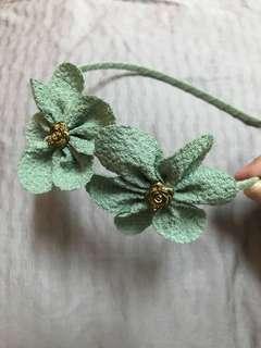 韓風湖水綠花朵造型髮髻