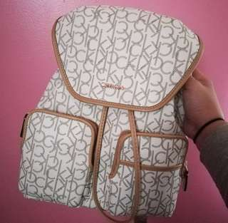 Calvin Klein Monogram Backpack (White)