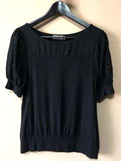 G2000 black blouse with translucent sleeves