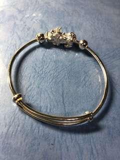 純銀鍍白K貔貅手環