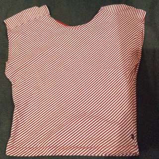 White&Red Stripped Semi-croptop (sleeveless)