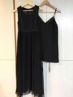 轉賣二手pazzo黑色雪紡長洋裝