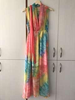 二手Suiza彩虹炫染漸層雪紡長洋裝