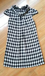 Jackie Kennedy style dress black and white pattern