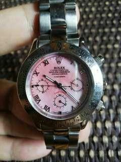 精装女生版劳力士全自动原装机械表(九成新,粉色珍珠贝壳面)