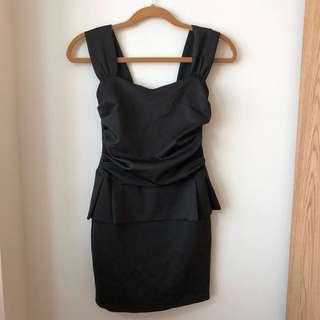 Black Peplum Dress XS