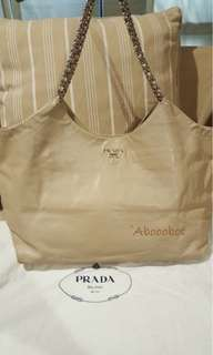 PRADA LEATHER HOBO WITH CHAIN