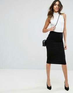 Fitted corporate tube midi skirt black - over the knee length