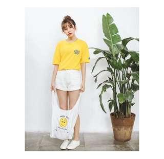 🚚 韓版chic學院風英文字母chips印花黃色短T 恤