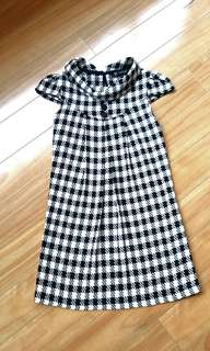 Jackie O style dress black and white pattern