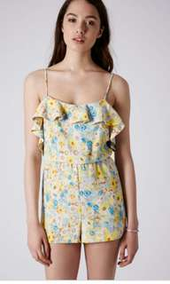 Topshop Yellow Ruffle Floral Playsuit Romper #MFEB20