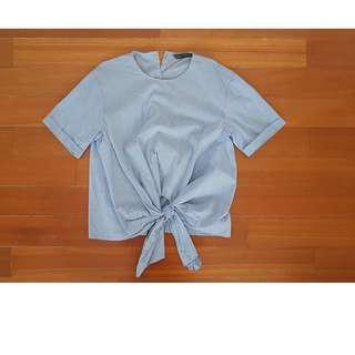 ZARA Tie Front Stripe Top XS