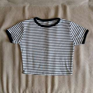 Striped Black and White Ringer Cropped Top