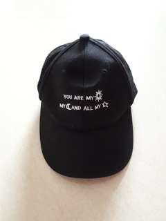 Black Embroidered Quotes Cap
