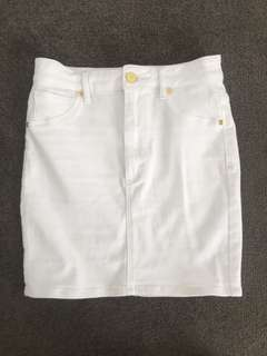 A Brand white denim skirt