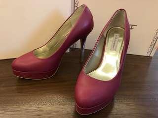 🚚 桃紅色金跟 豔麗  女 高跟鞋