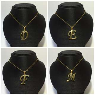 Stainless Big Script Initial Necklace Gold