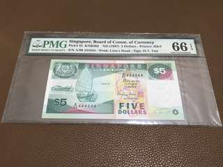 1997 Singapore $5 Ship with Solid Number 444444 in Original Brand New Mint Uncirculated Condition (UNC)