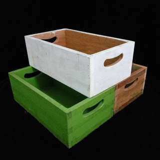 (Rent) White Green Brown Wooden Crate Box Decor