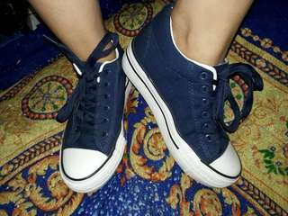 Sneaker wedges wanita converse look alike