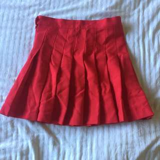 Red High Waisted Tennis Skirt