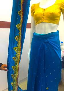 Wear Saree in  less than 5 min readymade Saree just wear like a wrap around skirt.Usually $55 for tailoring now $48 only with lining . Bring your Saree to stitch it to ready made