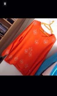 Comfy tangerine tunic top by LILIKROCK