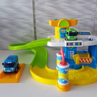Cars toy set character - new tayo little bus baby talking parking lot play