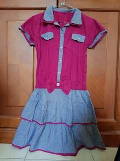 Dress kemeja pink kotak