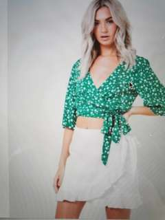 Mink pink green floral top
