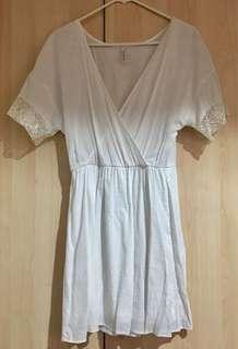 Stradivarius White Mid Length Dress