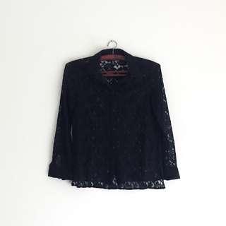 Black Lace Shirt | Kemeja lace H&M