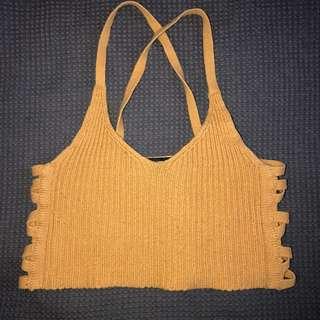 Mustard knit crop top