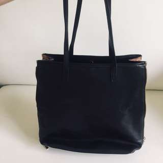 Black leather bag with zipper 🧡