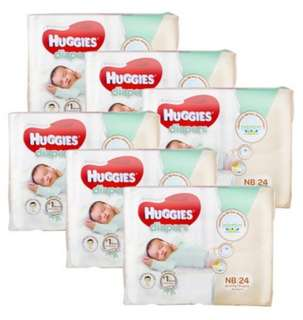 Huggies Platinum Newborn Diapers (6pkt x 24pcs, 144pcs) Carton Sale