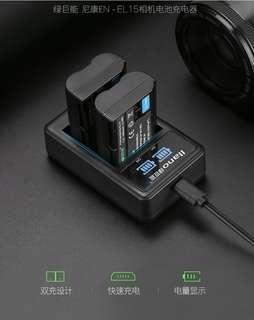 🚚 【Q夫妻】 llano EN-EL15 charger 充電器 USB充電 雙槽充電 D750 D7000 D7100 D600 D610 D800 E1-3