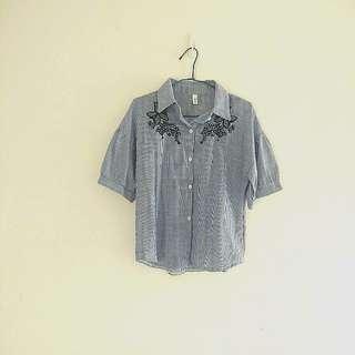 刺繡直條紋棉麻寬鬆襯衫/罩衫