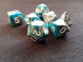 Blue and Grey Marbled Dice Set of 7
