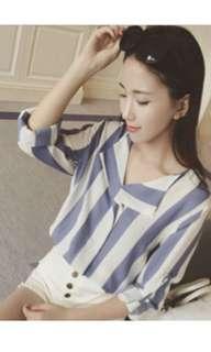 Stripes blouse biru