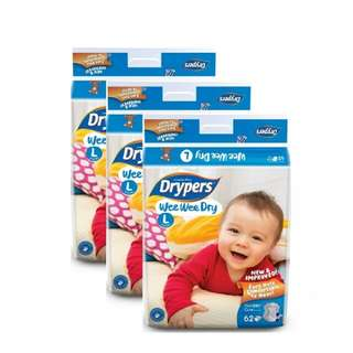 DRYPERS LARGE TAPED 62 pcs