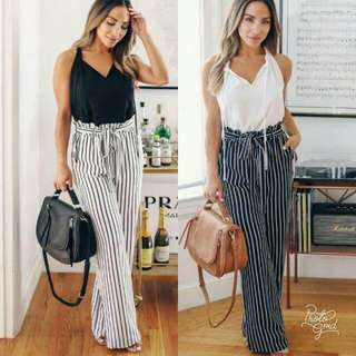 🍃Spaghetti Strap Top and Striped Pants Terno