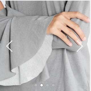 Pomelo Slate Grey Ivan Long Flare Sleeve Blouse