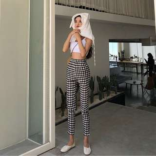 INSTOCKS Fitted high waisted checkered trousers pants - gingham