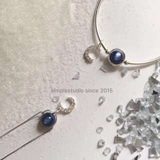 6 in 1 Multi-Way S925 Silver Blue Moon Necklace with Gemstone <May 2018 Collection> BN