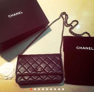 🚚 Chanel 入門經典 woc 小香包 黑色羊皮銀鏈