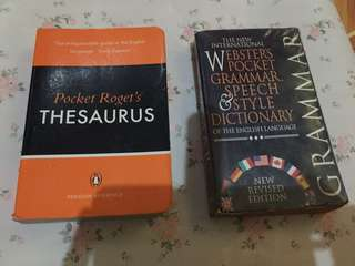 Thesaurus and Webster Pocket (Grammar, Speech etc.)