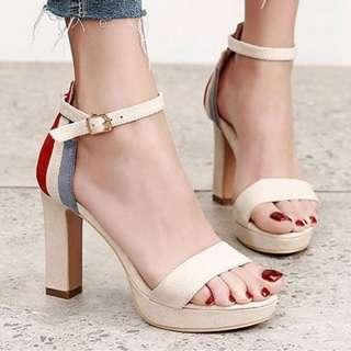 【現貨+預購】AT - 女鞋(8622):優質超細絨面+皮革*涼鞋(尺寸:34-39碼/高度:約10公分/防水台:約2公分/重量:約0.67KG)_免運。