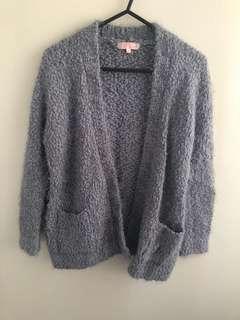 Women's grey fluffy cardigan knit